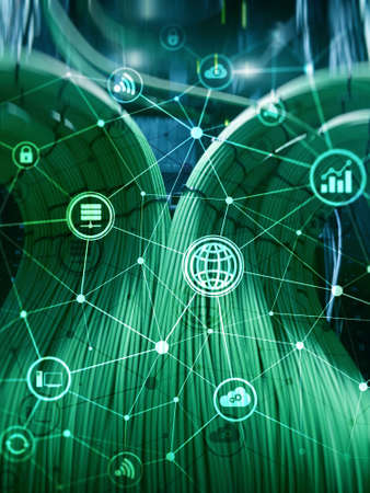 Computing concept. Technology infrastructure cloud computing and communication on data center background. Banco de Imagens