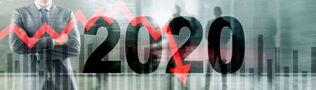The economic crisis of 2020. Red arrows fall down. Banco de Imagens