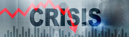 Crisis and red arrow down on abstract website banner. Banco de Imagens