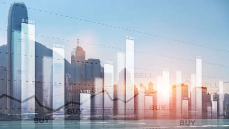 Trading buy and sell concept on futuristic modern city wallpaper. Banco de Imagens