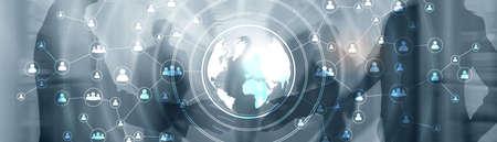 3D Globe Social Network Concept. Mixed Media Banner.