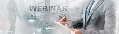 Webinar online concept. Business Technology Mixed Media Background. Banco de Imagens