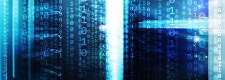 Matrix Futuristic theme multiple exposure binary numbers. Data center Website Banner. Banco de Imagens