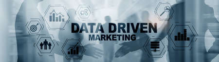 Data driven marketing concept on abstrack toned image.