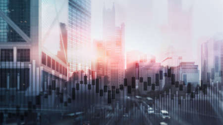 World economy. City business graph. Forex trading business concept. Banco de Imagens