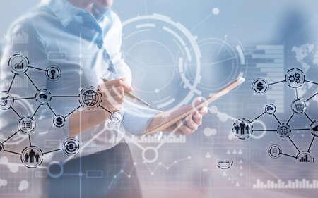 Business intelligence. Financial dashboard with key performance indicators. Banco de Imagens