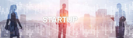 Start up New Business Corporate Concept. Background with silhouettes on the background of the city. Banco de Imagens