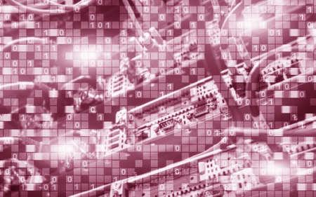 Red Digital matrix binary code mainframe server room computing communication concept.