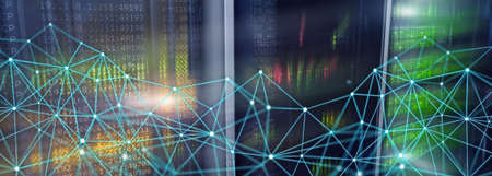 Telecommunication global network structure and networking concept on panoramic server background.