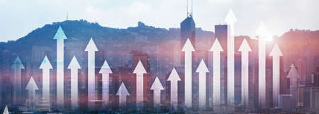 Financial growth arrow chart city view website panoramic header banner. Investment, stock trading, economic concept.