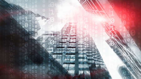 Corporate Business Concept. Binary Code on Moderns City Bulidings.