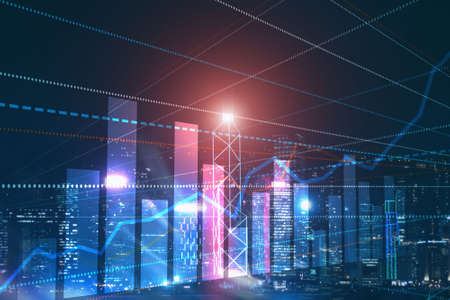 3D Graph and Lines. Hong Kong Blurred Background. For your business project.