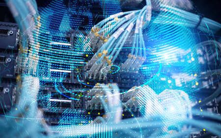 Planet Earth globe global communication technology concept server room background. Banco de Imagens