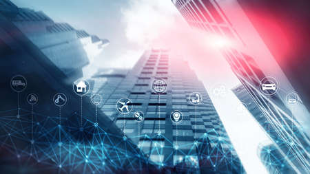 IoT Internet of Things. Abstract Futuristic Blue City. Smart city concept.
