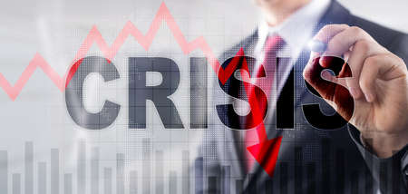 Finance Crisis Business Background. Exclusive Mixed Media Wallpaper. Stock Photo