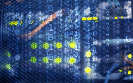 Binary code matrix digital internet technology concept on server room background. Stockfoto