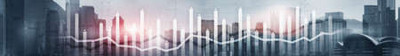 Finance Chart Overlaid on modern City. Panoramic Banner Concept.