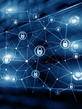 Information privacy. Cyber security blue data protection. Internet and technology concept Banco de Imagens