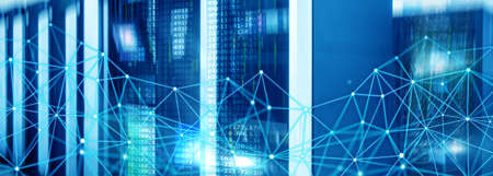 Blue Universal Telecommunication global network structure and networking concept on panoramic server background.