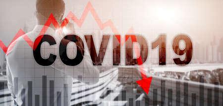 Reduce Morbidity Coronavirus Virtual screen. Covid19 on abstract mixed media background. Stockfoto