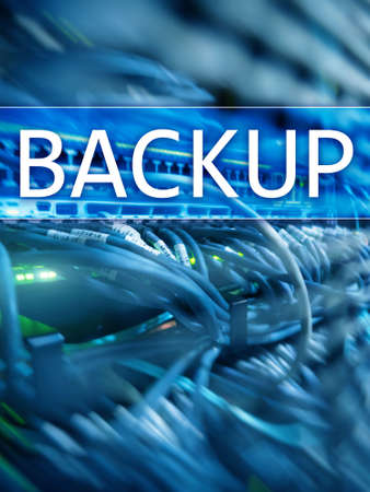 The inscription Backup on datacenter background. Business, Technology, Internet and network concept Stockfoto