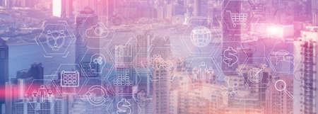 Multi-colored image. Modern City skyline Business finance success website header.