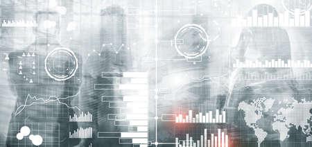 Universal technology background. Business intelligence Diagram Dashboard.