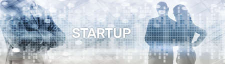 Start up New Business Corporate Concept. Background with silhouettes on the background of the city. Stockfoto
