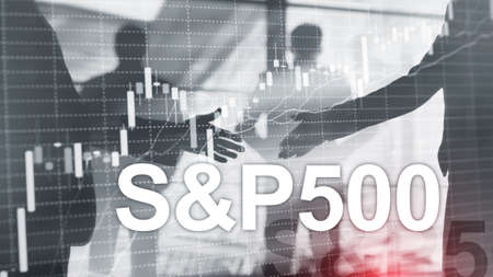 People silhouettes on American stock market index SP 500 - SPX.