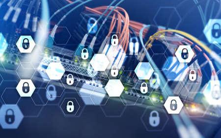 Server rack room digital security data protection concept