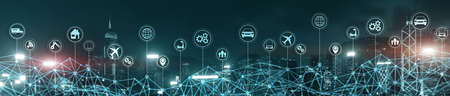Smart City IOT Concept. Wallpaper for your site. Panoramic Business Banner