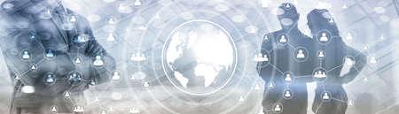 3D Globe Social Network Concept. Mixed Media Banner