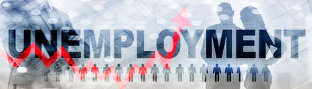 Rising unemployment. Red arrow up. 2020 financial crisis concept