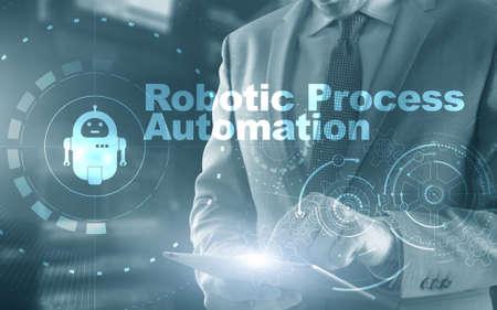 RPA Robotic Process Automation. Ai algorithm analyze Business