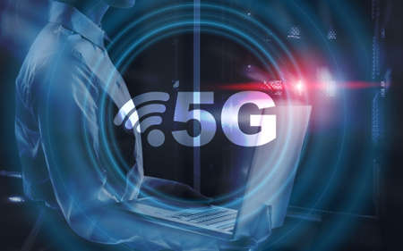 5G network wireless systems. Abstract global with wireless communication network background Stockfoto
