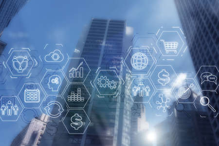 ERP Enterprise Resource Planning . Business intelligence control panel marketing on modern city of the future background.