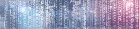 Binary computer code virtual city skyline. Matrix Mixed Media Background.