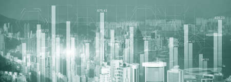 Green Financial graph diagram trading investment business intelligence concept website panoramic header double exposure modern city view. Stockfoto