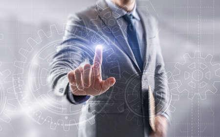 Businessman hand draws gear to success concept. 3D Gear Virtual Screen.