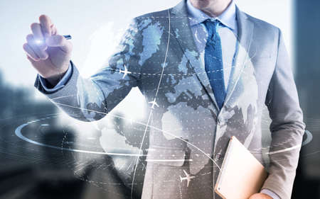Businessman touching 3D globe. Network and data exchanges over the world.