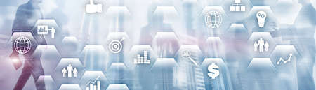 Business finance concept. Application icons ERP Enterprise resources plananing. Stockfoto