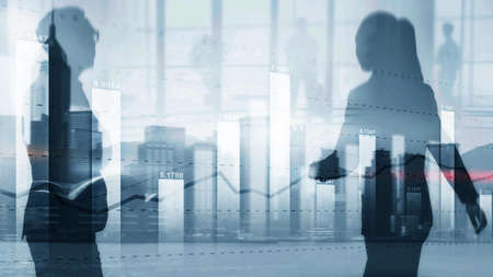Diagram on the background of silhouettes and the city. Business candle stick graph chart. Trend of graph. Stockfoto