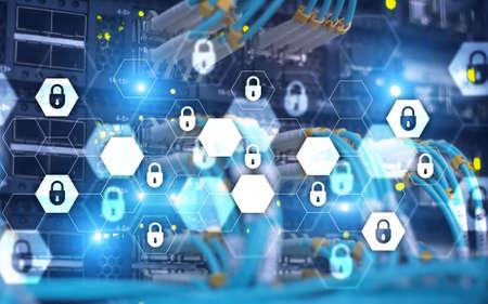Server rack room digital security data protection concept. Stockfoto