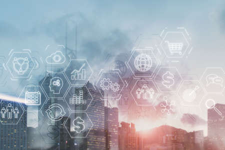 ERP (Enterprise Resource Planning). Business intelligence control panel marketing on modern city of the future background.