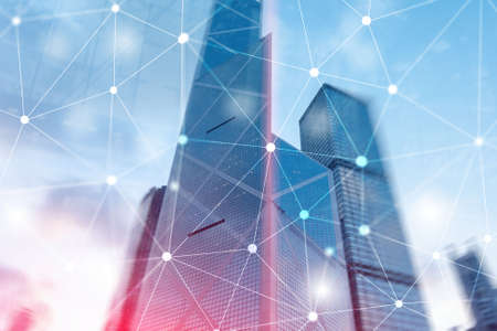 Cyber Network. Smart City Concept. Abstract Line Connection.