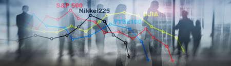 World stock market index concept. Financial crisis 2020