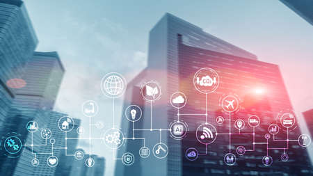 Smart city and internet concept 2020. Technology and communication on modern blurred City.