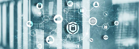 Online data security system. Protecting your business data. Stock Photo