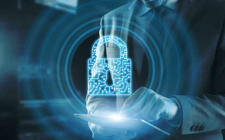 Cyber Security lock Privacy Data Protection internet and Technology concept.