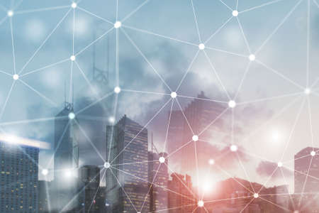 Futuristic Cyber Network. Smart City Concept. Abstract Line Connection. Stock Photo